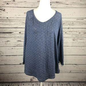 Chico's Blue Polka Dot V-Neck Cuffed T-Shirt Top